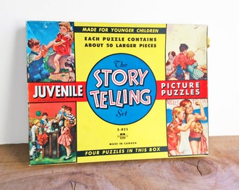 Vintage Puzzle Set of 4, Childrens Puzzles, Vintage Somerville Games, Nostalgic Toys, Retro Story Telling Set