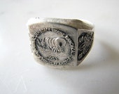 Vintage Boy Scouts National Jamboree Sterling Ring 1953 Irvine Ranch California