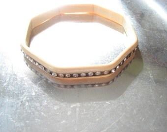 Vintage Hexagonal Pale Pink Grey Gray Rhinestone Celluloid Plastic Bangle Bracelet