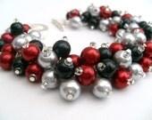 Red Silver Black Pearl Cluster Bracelet, Jewelry For Bridesmaids, Wedding Bracelet, Red Bracelet, Chunky Jewelry, Bridal Jewelry, Christmas
