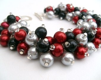 Red Silver Black Pearl Cluster Bracelet, Jewelry For Bridesmaids, Wedding Bracelet, Red Bracelet, Chunky Jewelry, Bridal Jewelry, Christmas