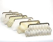Gold Bridesmaid Clutches Personalized Clutches Gatsby Wedding - Choose Your Fabrics Metallic Gold  Black White Set of 6