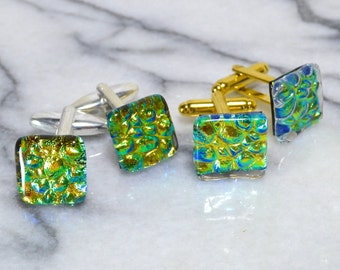 Dichroic Glass Cufflinks on a Choice of Silver or Gold T Bar Fittings - Iridescent Colour Changing from Gold to Green to Blue - Gift Boxed