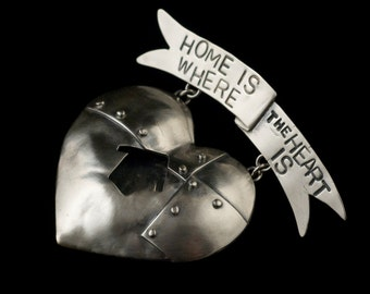 "A ""Home is Where the Heart Is"" Silver Pin - On Sale"