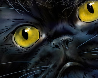 Digital Download Black Cat Clip Art | Shorthair Persian Cat Digital Painting Clipart | Pet Art | Animal Clip Art | Cat Portrait Illustration
