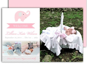 Photo Birth Announcement/Girl Baby Announcement/Printable Photo Birth Announcement/Baby Thank you card/Elephant/DIY/*free background*