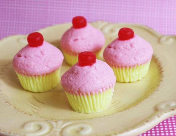 SALE - Mini Cherry Topped Cupcake Soap Set - Small, Bite Size, Fruit, Pink, Kids Soap, Cake, Soap Favors, Baby Shower, Bridal Shower, Petit,