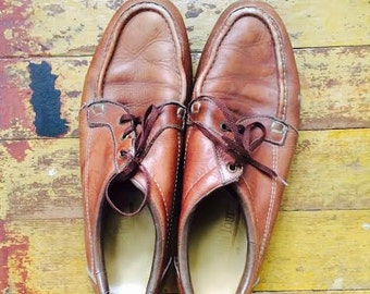 Vintage 1970's mens boho geeky chic, old man style loafers. size 10.5