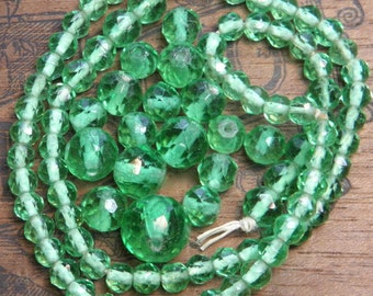 Vintage Green Glass Beads Supply Faceted Antique