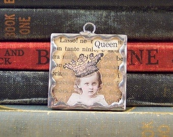 Fairy Queen Pendant - Fairy Charm - Soldered Glass Pendant - Fairy Collage Art - Mixed Media - Altered Art Charm - Fantasy Pendant