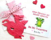12 Seed Dragon Valentines - Kids Valentine's Day Cards - Plantable Paper Valentine Dragons Birthday Party Favors Set - Kids Valentines Day