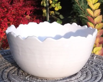 Serving Bowl with Snow covered Rocky Mountains - Handmade Pottery