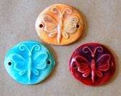 3 Handmade Ceramic Beads - Sweet Set of Bracelet Beads - Butterfly Link Beads