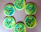 6  Handmade Stoneware Buttons - Light and Sweet Spring Green Dandelion Buttons