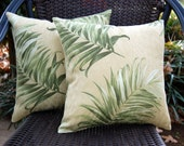 Paradise Palm Sun Porch Pillow / tropical palm tree patio pillow / green porch pillow / outdoor pillow / resort style / Tommy Bahama pillow