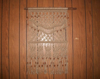 Natural Jute or Creamy Cotton Macrame & Weaved Fiber Art Tapestry For Wall, Window Or Door by Craft Flaire