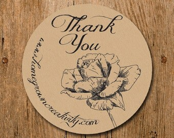 Customized Stickers - Drawing Rose Fancy Thank You Stickers - Labels - Wedding - Birthday Party - Thank You Stickers
