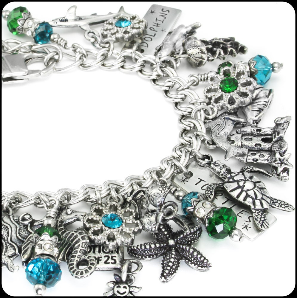 Dolphin Charm Bracelet: Silver Nautical Jewelry Dolphin Bracelet By BlackberryDesigns