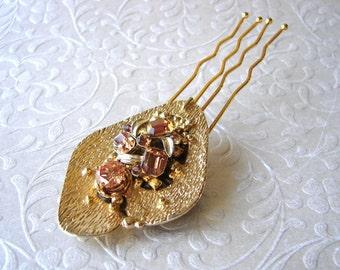 Hazelnut Champagne Gold Topaz Rhinestone Bridal Hair Comb Golden Jeweled Wedding Hairpiece Vintage Costume Jewelry Amber Headpiece Pantone