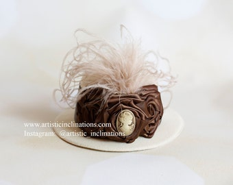 Cafe Con Leche - Rosettes with Cameo atop Ivory Mini Top hat Perfect Photo Prop, Toddler Hat, Baby Hat, Girls Hat, Photography Prop