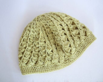 Pygora Slouchy Beanie - natural dyed yellow - rose petals