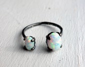 Dual Opal Open Ring - Handmade in Sterling Silver
