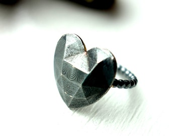 Oxidized Geometric Heart Ring in Sterling Silver