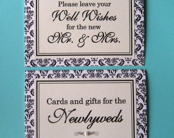 CLEARANCE Two 5x7 Tent Folded Wedding Paper Signs in Black and Cream Damask - Wedding Guest Book and Cards and Gifts Table  - Ready to Ship
