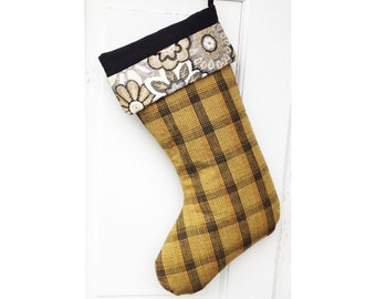 Handmade Linen Plaid Christmas Stocking - Gold and Black Plaid with Floral Cuff - Ode to the Honeybee Series