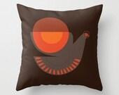 Throw Pillow: Mid-century Illustrated Bird No. 7
