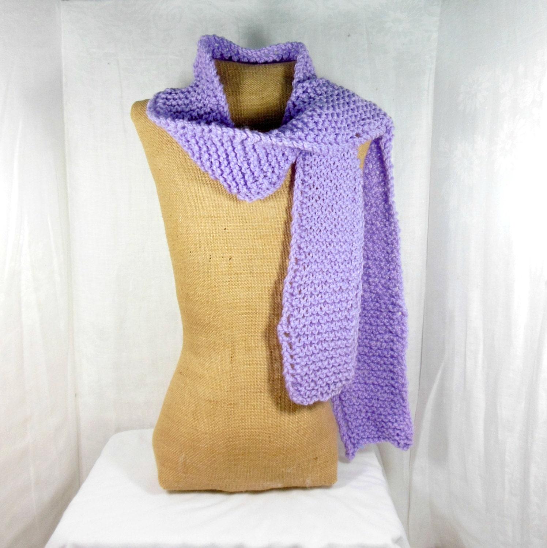 Lilac skinny scarf hand knit scarf womens knit scarf long