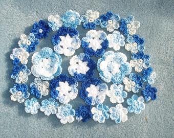 32 handmade shaded blue crochet applique flowers -- 59