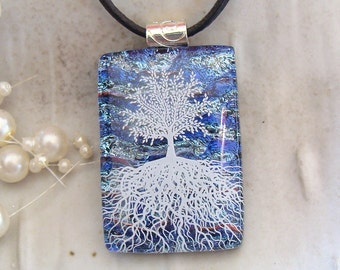Tree of Life Necklace, Tree Pendant, Dichroic Fused Glass Pendant, Glass Jewelry, Blue Necklace, Enamel, Necklace Included, A5
