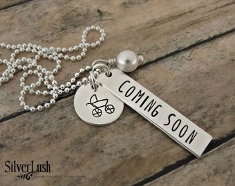 Sterling Silver Coming Soon Pregnancy Announcement Necklace - Baby Carriage - Hand Stamped Maternity Jewelry