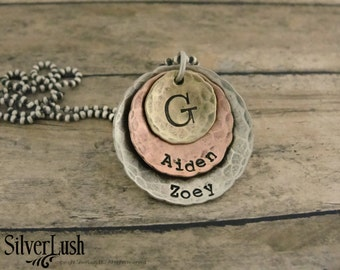 Mixed Metals Hand Stamped Family Jewelry - Sterling Copper NuGold Necklace