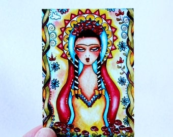Frida Kahlo Art Print, ACEO ATC Day of the Dead Artist Trading Card, Madonna Virgin Mary Mexican Watercolor Illustration, Red Yellow