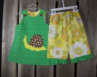 Eco wear, baby outfit (18months) with hand embroidered snail applique, made from vintage reclaimed materials, photo fashion, green, snail