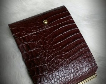 Brown Leather Flip  Wallet Alligator Embossed Cowhide with Button Close