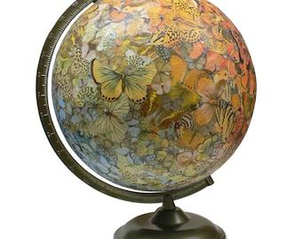 Vintage Globe Art, Butterfly Swarm, Colorful Butterflies, World Globe Art