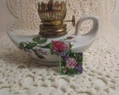Hand Painted Roses and Lilacs on a Glass Tile Pendant