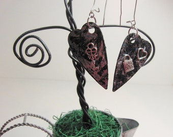 Reversible Heart With Charm Earrings
