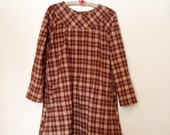 long sleeve plaid flannel smock tunic dress - size Small - READY TO SHIP!
