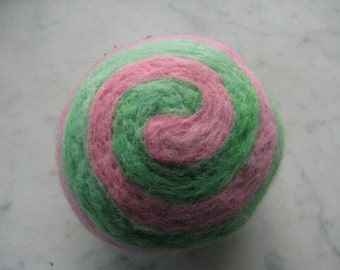 One multi-colored felted pin-cushion, Mint Green and Pink
