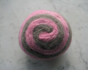 One multi-colored felted pin-cushion, Pink and Gray