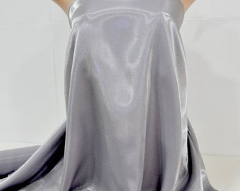 Shimmer Satin  fabric Platinum gray 1 YD bridal, drapery. formal, costume,pageants, crafts ,decor