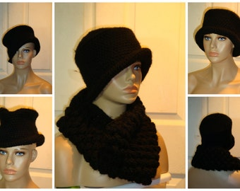 Black Hat and Neckwarmer / Cowl / Infinity Bubble Set