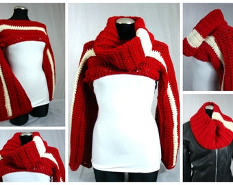Crochet Shrug with Matching Infinity Scarf - Red and White - Delta - Sorority Colors