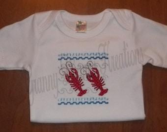 Personalized Crawfish Baby Bodysuit Faux Smocked Crawfish Shirt - Embroidered Crawfish Bodysuit - Baby boy clothing - baby girl clothing