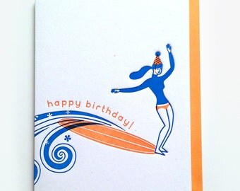 Birthday Surfergirl Card