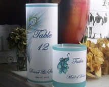 Vellum Luminarie Table Numbers - Head Table - Place Card - PEACOCK FEATHER - Luminaria - Lantern
